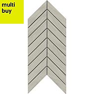 Chevron mosaic White Matt Wood effect Porcelain Wall & floor tile, (L)300mm (W)155mm