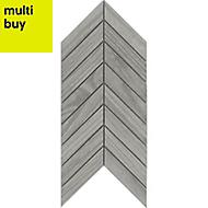 Chevron mosaic Grey Matt Wood effect Porcelain Wall & floor tile, (L)300mm (W)155mm