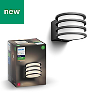 Philips Hue Black & white Mains-powered LED Outdoor Wall light 806lm