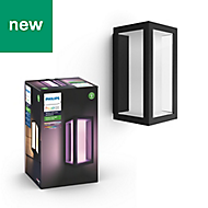 Philips Hue Not adjustable Black & white Mains-powered LED Outdoor Wall light 1200lm