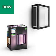 Philips Hue Black & white Mains-powered LED Outdoor Wall light 1200lm