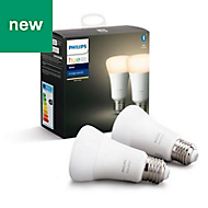Philips Hue E27 LED Warm white Classic Dimmable Light bulb, Pack of 2