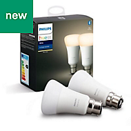 Philips Hue B22 LED Warm white Classic Dimmable Light bulb, Pack of 2