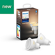 Philips Hue GU10 LED Cool white & warm white Dimmable Light bulb, Pack of 2