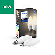 Philips Hue E14 LED Warm white Candle Dimmable Light bulb, Pack of 2