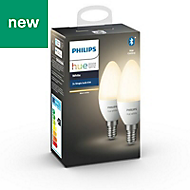 Philips Hue E14 LED Warm white Candle Dimmable Smart Light bulb, Pack of 2