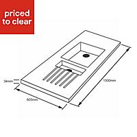 Permian Beige Chipboard & solid resin Worktop sink & drainer (L)1500mm
