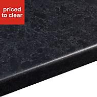 38mm Midnight Satin Black Granite effect Laminate Round edge Kitchen Breakfast bar Worktop, (L)2000mm