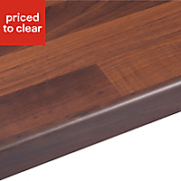 38mm Butcher's block Walnut effect Laminate Round edge Kitchen Breakfast bar Worktop, (L)3000mm