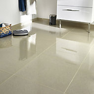 Modenia Beige Travertine effect Porcelain Floor tile, Pack of 3, (L)600mm (W)600mm