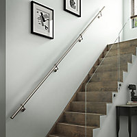 Modern Brushed Stainless steel Rounded Handrail kit, (L)3.6m (W)40mm