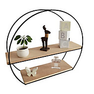 Modular Matt black natural oak effect Circular Shelf (L)520mm (D)150mm