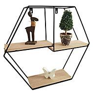 Modular Matt black oak effect Hexagonal Shelf (L)480mm (D)110mm