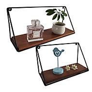 Modular Satin black walnut effect Rectangular Shelf (L)345mm (D)105mm, Set