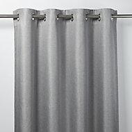 Moggo Grey Herringbone Blackout Eyelet Curtain (W)167cm (L)228cm, Single