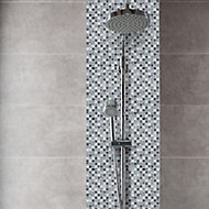Mono Grey & white Crackle effect Glass 3x3 Mosaic tile, (L)300mm (W)300mm