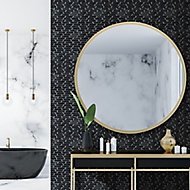 Monte Carlo Black Brass effect Marble Mosaic tile, (L)300mm (W)350mm