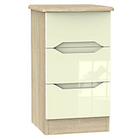 Monte carlo Cream oak effect 3 Drawer Bedside chest (H)730mm (W)450mm (D)395mm