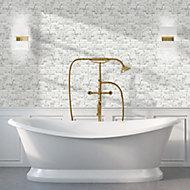 Monte Carlo White Brass effect Marble Mosaic tile, (L)300mm (W)350mm