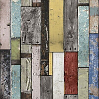 Multicolour Painted wooden planks Wood effect Smooth Wallpaper