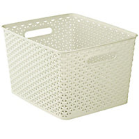 My style White rattan effect 18L Plastic Nestable Storage basket (H)220mm (W)300mm