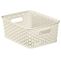 My style White rattan effect 8L Plastic Nestable Storage basket (H)100mm (W)197mm