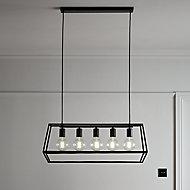 Nantan Matt Black 5 Lamp Pendant ceiling light, (Dia)780mm