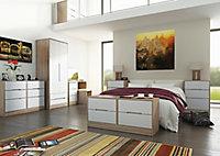 Nantes Contemporary Mirrored Satin cashmere oak effect Tall Triple Wardrobe (H)1970mm (W)1110mm (D)530mm