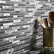Naplo Grey Metal effect Aluminium Mosaic tile, (L)304mm (W)300mm