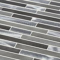Naplo Grey Metal effect Aluminium Mosaic tile, (L)304mm (W)300mm