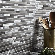 Naplo Grey Metal effect Mosaic Aluminium Mosaic tile, (L)304mm (W)300mm