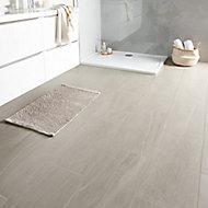Natural Greige Satin Stone effect Porcelain Floor tile, Pack of 6, (L)600mm (W)300mm