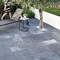 Natural limestone Blue black Paving slab (L)600mm (W)600mm
