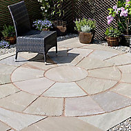 Natural sandstone Autumn green Paving circle squaring off corner 2.65m² , Pack of 12