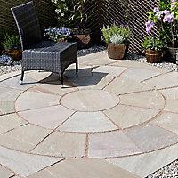 Natural sandstone Autumn green Paving circle squaring off corner 2.65m² , Pack of 12