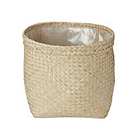 Natural Seagrass Herringbone Round Plant pot (Dia)35cm