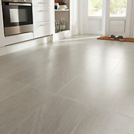 Natural White Satin Stone effect Porcelain Floor tile, Pack of 6, (L)600mm (W)300mm