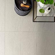 Natural White Satin Stone effect Porcelain Floor Tile Sample