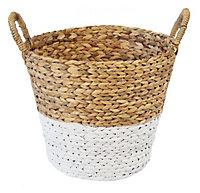 Natural & white Water hyacinth Storage basket (H)360mm (W)350mm