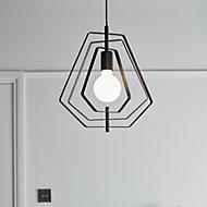 Nedoki Matt Black Pendant ceiling light, (Dia)350mm
