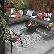 Nordic décor Grey Matt Geo pattern Stone effect Porcelain Outdoor Floor tile, Pack of 2, (L)600mm (W)600mm