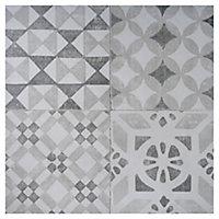 Nordic décor Grey Matt Geo pattern Stone effect Porcelain Outdoor Floor tile, Pack of 2, (L)600mm (W)600mm