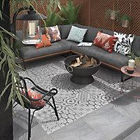 Nordic décor Grey Matt Geometric Stone effect Porcelain Outdoor Floor Tile, Pack of 2, (L)600mm (W)600mm