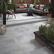 Nordic Medium grey Matt Stone effect Porcelain Outdoor Floor tile, Pack of 2, (L)600mm (W)600mm