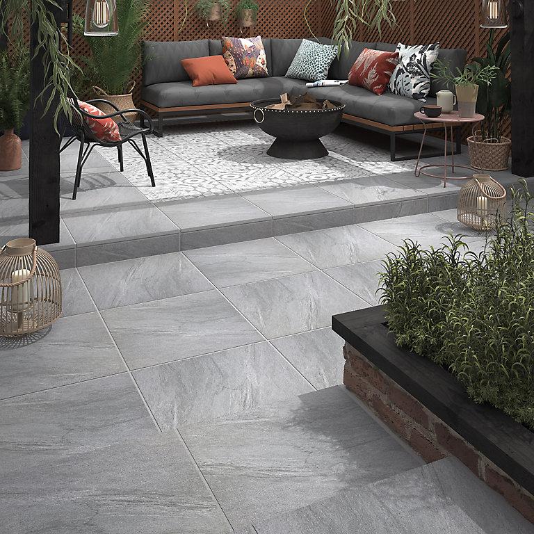 Nordic Um Grey Matt Stone Effect, Outdoor Porcelain Tile