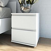 Nova Matt white 2 Drawer Bedside chest (H)480mm (W)400mm (D)340mm