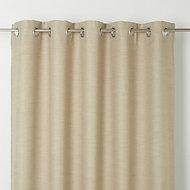Novan Beige Plain Unlined Eyelet Curtain (W)117cm (L)137cm, Single