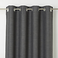 Novan Grey Plain Blackout Eyelet Curtain (W)167cm (L)228cm, Single