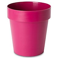 Nurgul Pink Plastic Round Plant pot (Dia)20cm