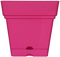 Nurgul Pink Plastic Square Plant pot (Dia)38cm